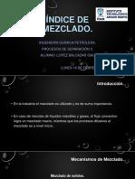 Índice de Mezclado. Procesos de Separación II