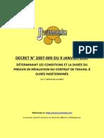 Decret 2007-009 Du 9 Janvier 2007 CDI Et Preavis