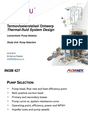 Ingm 427 Termovloeierstelsel Ontwerp Thermal Fluid System Design Pump Phases Of Matter