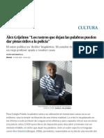 """Sobre Lingüística Forense_Álex Grijelmo_ """"Los Rastros Que Dejan Las Palabras Pueden Dar Pistas Útiles a La Policía"""""""