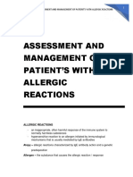 Assessment and Management of Patient's with Allergic Reactions