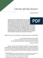 Eduardo Terren. Postmodernidad, legitimidad y Educación