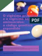 Costa; Galembeck 2016 O Vigésimo Primeiro e o Vigésimo Segundo Aminoácidos - o Código Genético Expandido