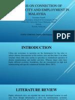 ANALYSIS ON CONNECTION OF URBANIZED CITY AND EMPLOYMENT IN MALAYSIA (UNIVERSITI UTARA MALAYSIA)