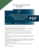 Terbaru! Jasa Optimasi Web Terpopuler Cilacap, 0811-2829-003