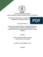ANÁLISIS DE LA FACTIBILIDAD PARA LA IMPLEMENTACIÓN DE UNA OFICINA DE ASESORIA CONTABLE Y TRIBUTARIA PARA LOS COMERCIANTES DE LA PARROQUIA ROBERTO ASTUDILLO, CANTÓN MILAGRO.pdf