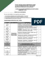 Cronograma Ecuaciones Diferenciales 2019-1