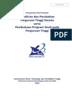 Pedoman Pendirian Perubahan PTS Serta Pembukaan Prodi 2019