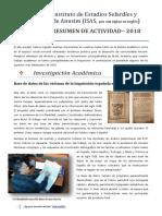 Resumen de Actividad ISAS ‒ 2018