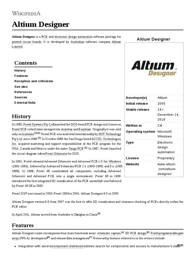 Altium Designer | Electronic Design Automation | Computing
