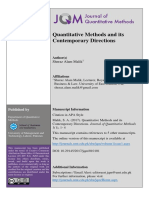 Quantitative Methods and its Contemporary Directions