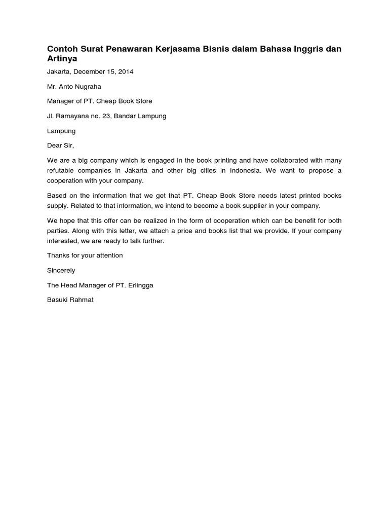 Contoh Surat Bisnis Dalam Bahasa Inggris Ilmusosial Id