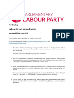 Labour Brexit Amendments Briefing For MPs