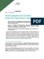 Communique de Presse - Keolis Adapte Son Comite Executif a Ses Enjeux Strategiques
