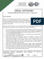 Measles Advisory