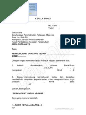 Format Surat Persetujuan Ketua Jabatan Untuk Menghadiri Temuduga