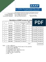 ZAKF Screw Air Compressor Price List---RMB