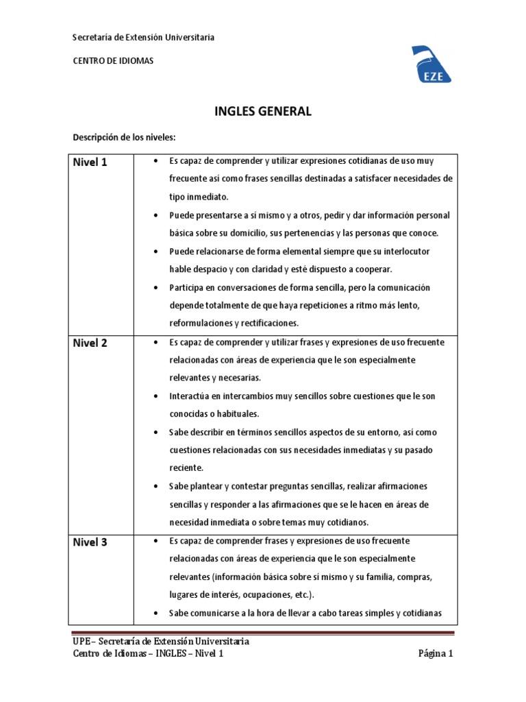 Upe Centro De Idiomas Ingles Nivel 1 Cognición