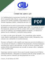 Comunicado de la Confederación de Asociaciones Israelitas de Venezuela - Globovisión