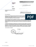 Oficio remitida a Recto de la UNFV