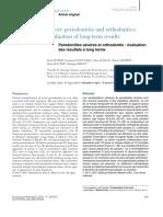 Parodontites Severes Et Orthodontie -Evaluation Des Résultats à Long Terme