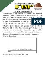 Carta de Autorización Vacuna
