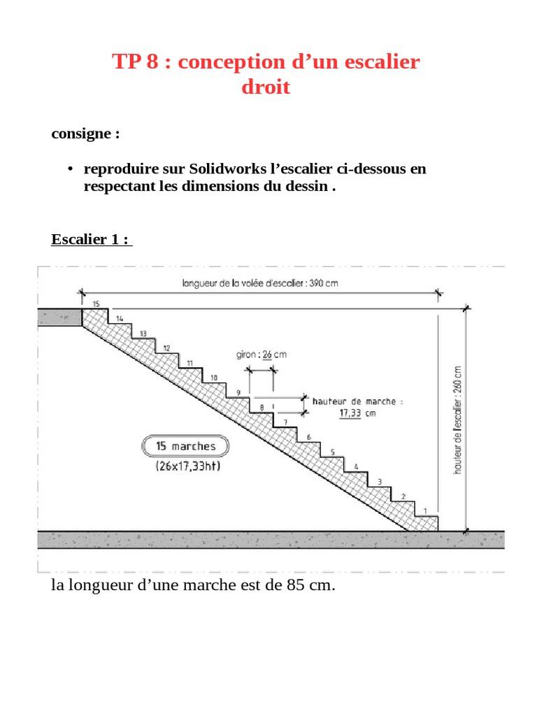 Largeur D Une Marche D Escalier tp 8 solidworks escalier