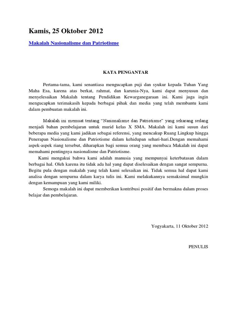 Kamis 25 Oktober 2012 Makalah Nasionalisme Dan Patriotisme