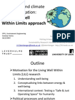 Well-being and climate change mitigation:the Living Well Within Limits approach