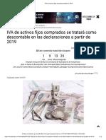 Iva Descontable en Activos Fijos Año 2019