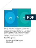 Summary of Mbr vs Gpt