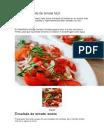 Receta Ensalada de Tomate Fácil