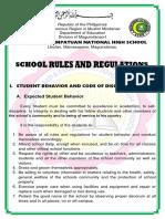 School Rules and Regulation of Datu Tahir NHS 2018