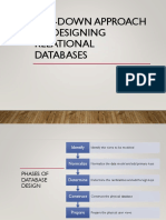 Top Down Approach to Designing Relational Databases