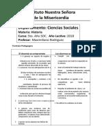 Contrato Pedagógico Historia 5to Año Soc. 2018