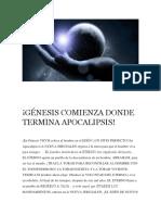 Génesis Comienza Donde Termina Apocalipsis