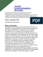 Mcdonalds Essay