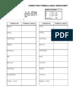 Formula Mass Worksheet