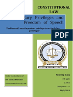 Parliamentary Privilege and Freedom of Speech