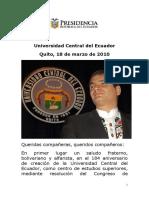 2010 03 18 Discurso Universidad Central