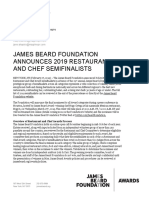 2019 James Beard Awards Semifinalist Announcement FINAL