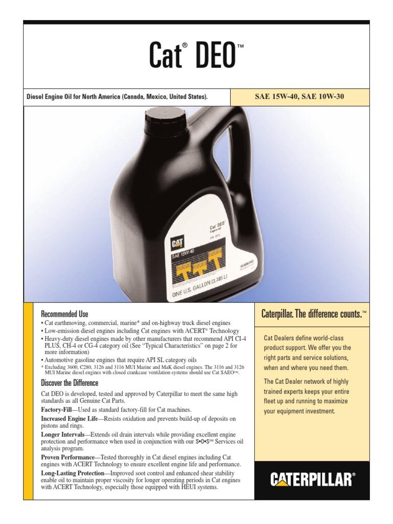CAT DEO 15W40 - PEHJ0059-02 pdf | Aceite para motor | Motores
