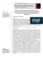 Effect of vancomycin, tetracycline, Persia americana leaf extract and combinations thereof on antibacterial activity against pathogenic organisms