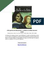 J-M Leprince de Beaumont - La Belle Et La Bête