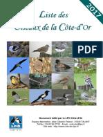 Liste Des Oiseaux de Cote-d or 2017