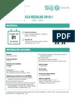 Matrícula Ciclo Regular 2019 - I
