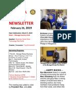 Moraga Rotary Newsletter Feb 26 2019