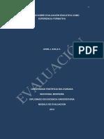 Reflexión Sobre Evaluación Educativa Como Experiencia Formativa