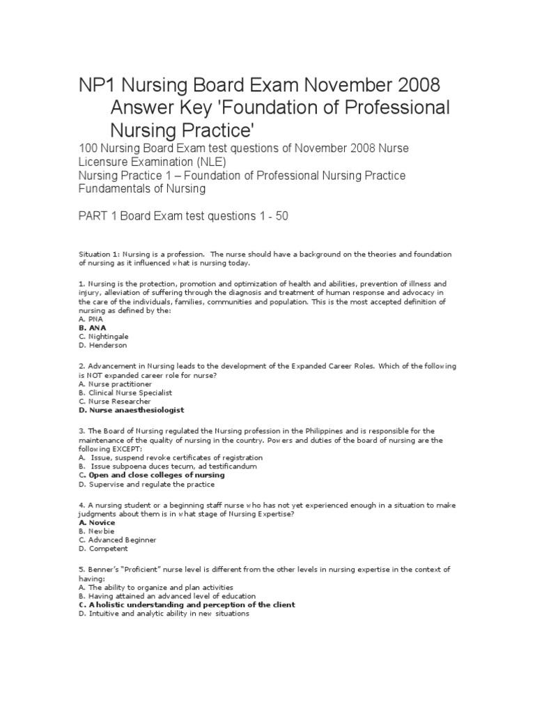 NP1  Nursing Board Exam November 2008 Answer Key   Injection