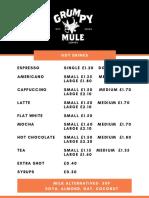 Grumpy Mule Menu 2019